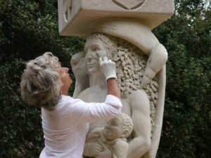 Francis Jansen works on her Pillars of Providence